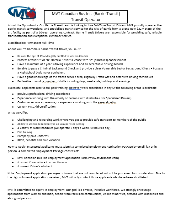 Barrie Transit Job Posting