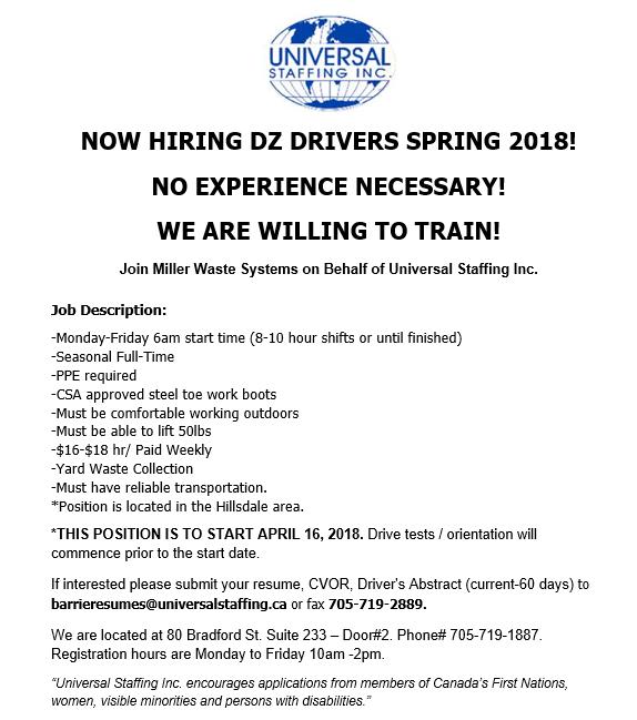 Universal Staffing driver jobs