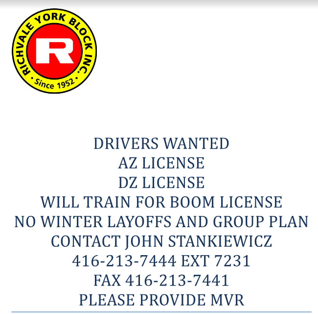 Truck Driver Job Posting