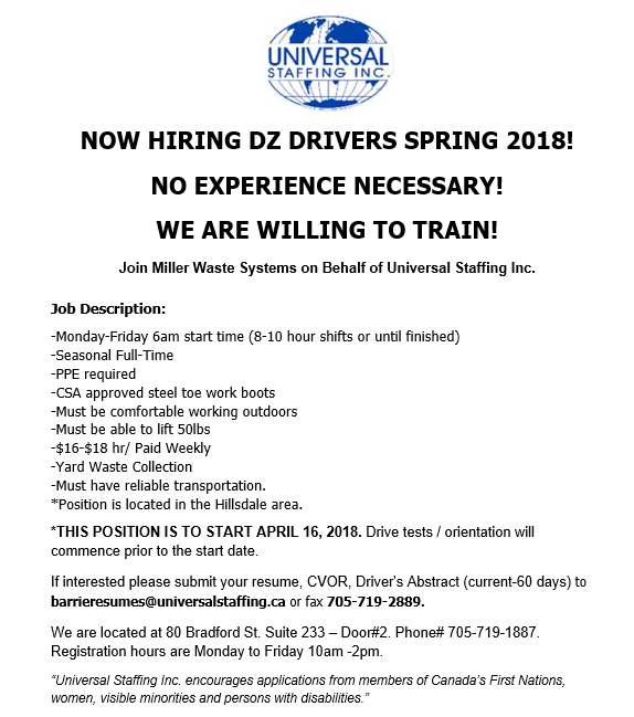 Universal Staffing driver jobs